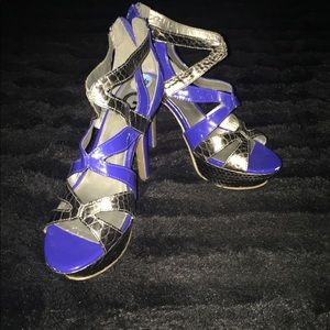 Blue and silver heels by Guess